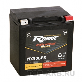 RDrive YIX30L-BS 12V 30Ah 440А AGM обр. (169x125x175) eXtremal GOLD