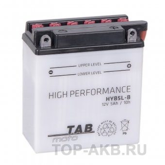TAB Moto High performance HYB5L-B 12V 5Ah 65A (120х61х130) обр. пол. сухоз.