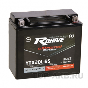 RDrive YTX20L-BS 12V 18Ah 270А обр. пол. AGM сухозаряж. (176x87x154) eXtremal SILVER