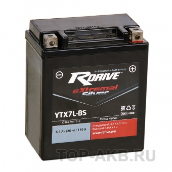 RDrive YTX7L-BS 12V 6Ah 110А обр. пол. AGM сухозаряж. (113x70x130) eXtremal SILVER