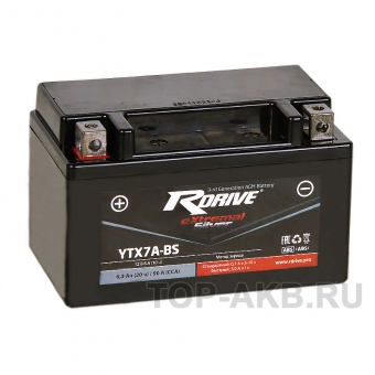 RDrive  YTX7A-BS 12V 6Ah 90А прям. пол. AGM сухозаряж. (150x87x93) eXtremal SILVER