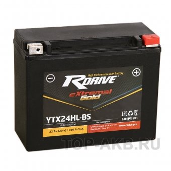 RDrive YTX24HL-BS 12V 21Ah 360А обр. пол. AGM  (205x90x162) eXtremal GOLD