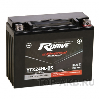 RDrive YTX24HL-BS 12V 21Ah 350А обр. пол. AGM сухозаряж. (205x87x162) eXtremal SILVER