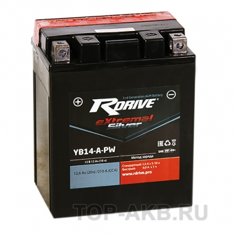 RDrive YB14-A-PW 12V 12Ah 210А прям. пол. AGM сухозаряж. (134x90x164) eXtremal SILVER
