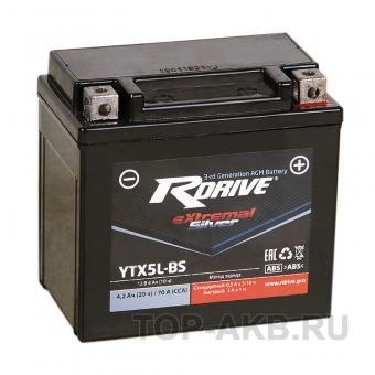 RDrive YTX5L-BS 12V 4Ah 70А обр. пол. AGM сухозаряж. (113x70x105) eXtremal SILVER