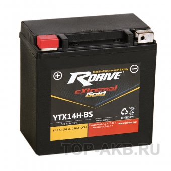 RDrive YTX14H 12V 12Ah 230А прям. пол. AGM (150x87x145) eXtremal GOLD