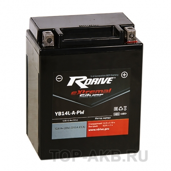 RDrive YB14L-A-PW 12V 12Ah 210А обр. пол. AGM сухозаряж. (134x90x166) eXtremal SILVER